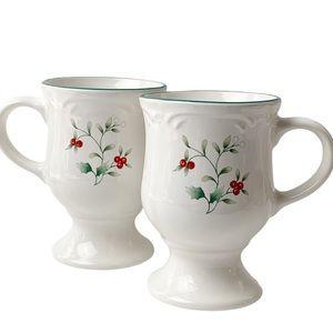 VTG Pfaltzgraff USA pair holly pedestal mugs